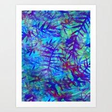 Electric Palms - Aqua Art Print