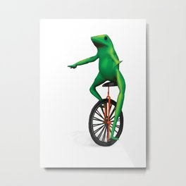 Here come dat boi frog memes unicycle TOP QUALITY Metal Print