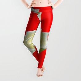 WHITE ROSES RED GARDEN DESIGN Leggings