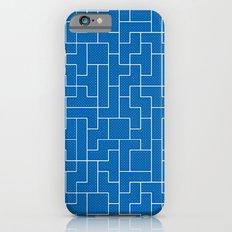 White Tetris Pattern on Blue Slim Case iPhone 6s