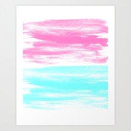 Summer Brushstrokes painting boho modern minimal abstract neon painting cool beach socal vibe Art Print
