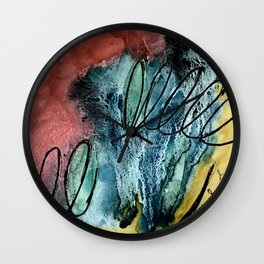 Motion: an abstract mixed media piece in muted primary colors Wall Clock