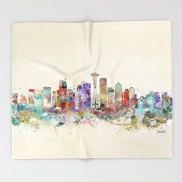 seattle city skyline Throw Blanket