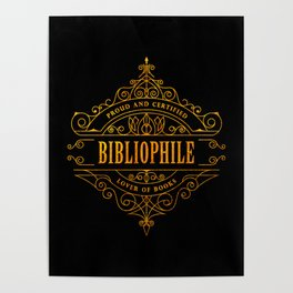 Gold Bibliophile on Black Poster