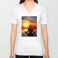 lotus V-neck T-shirts featuring Lotus by Danielle Tanimura