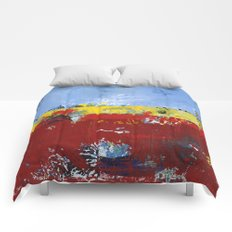 Deerfield Red Yellow Blue Abstract Art Primary Colors Comforters