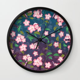 Cherry Blossoms and Leaves Wall Clock