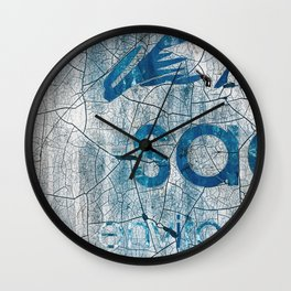 Textures And Chipped Paint In Blue And White Wall Clock