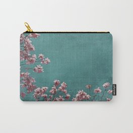 Pink Apple Blossoms on Teal Blue Green Sky Carry-All Pouch