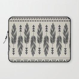 Tribal Feathers-Black & Cream Laptop Sleeve