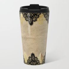 Elegance- Ornament black and gold lace on grunge paper backround Metal Travel Mug