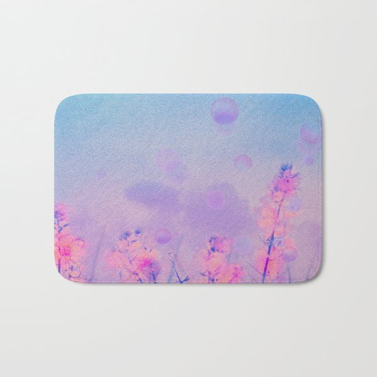 Spring Purple Dream (Neon Pink Wildflowers, Indigo Sky) Bath Mat
