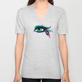 Rainbow Peacock Feather Eyelashes Eye Unisex V-Neck