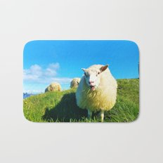 Sheeps in Iceland with Green Field Bath Mat
