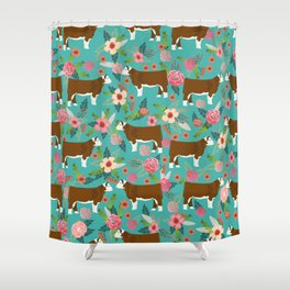 Hereford Cattle breed floral farm homestead gifts cow art florals Shower Curtain