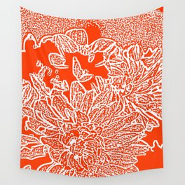 Dahlia Lino Cut, Fiery Red Wall Tapestry