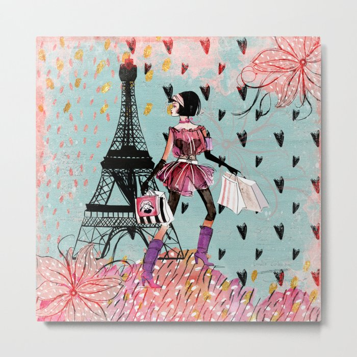 Fashion girl in Paris- Shopping at the EiffelTower Metal Print