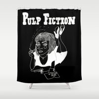 pulp fiction Shower Curtains featuring Pulp Fiction (Inverted) by ☿ cactei ☿