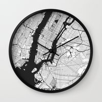 new york map Wall Clocks featuring New York Map Gray by City Art Posters