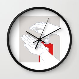 Hand Sanitizer Monoline Wall Clock
