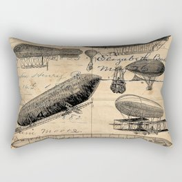 Vintage Hot Air Balloon Study Rectangular Pillow