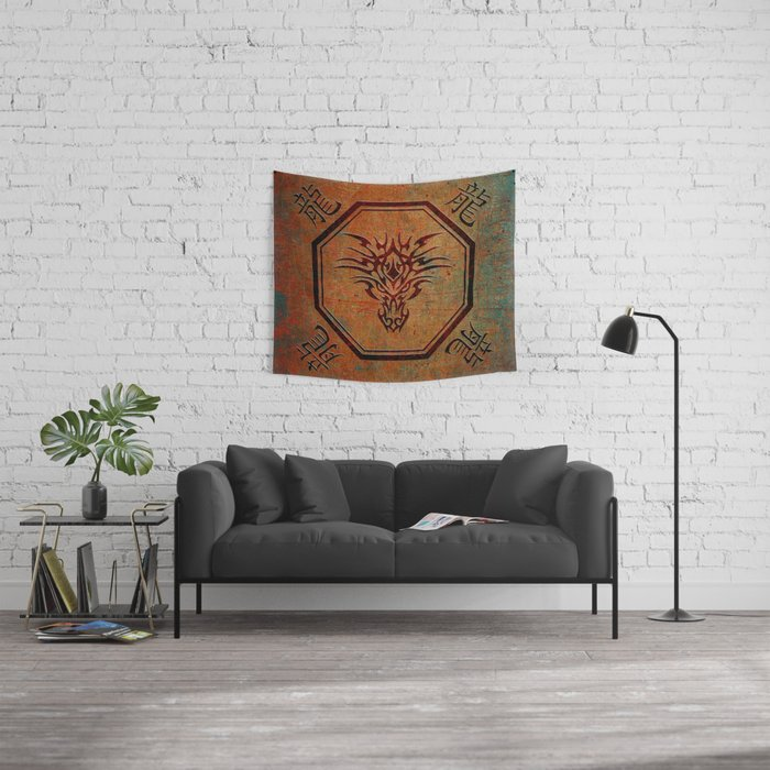 Tribal Dragon Head In Octagon With Dragon Chinese Characters Wall Tapestry