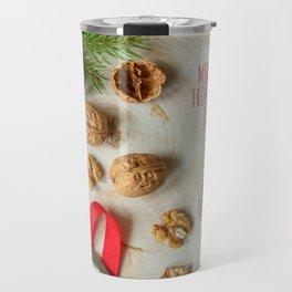 Christmas card with walnuts  Travel Mug