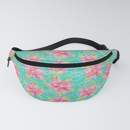 'Tis the Season for Poinsettias and Mistletoes in Turquoise Fanny Pack