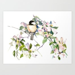 Chickadee and Dogwood Flowers Art Print
