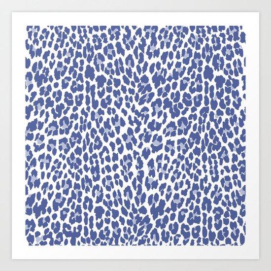 Blue Leopard Print Art Print