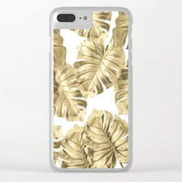 Gold Monstera Leaves on White 2 Clear iPhone Case