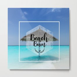 Tropical Scene with Thatched Palapa Beach Bum Typography Metal Print