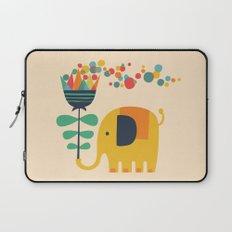 Elephant with giant flower Laptop Sleeve