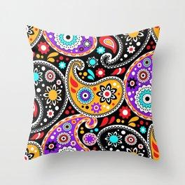 Boho Cowboy Colorful Bandana Paisley Throw Pillow
