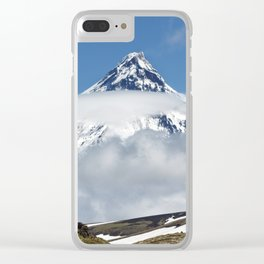 Group of hikers climbing on mountain on background volcanoes of Kamchatka Peninsula Clear iPhone Case