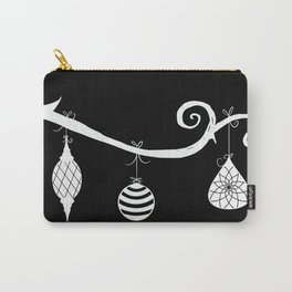 Burtonesque Branch with Ornaments 1 / White on Black Carry-All Pouch