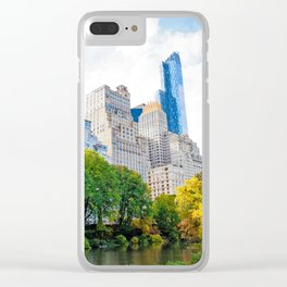 Autumn Cityscape Clear iPhone Case