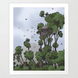 TreeHouse in the Sky Art Print