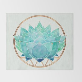 Modern Blue Succulent with Metallic Accents Throw Blanket