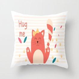 Cat Hug me Throw Pillow
