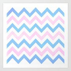 Blue pink Chevron Pattern Art Print