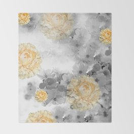 CHERRY BLOSSOMS AND YELLOW ROSES GRAY and WHITE Throw Blanket