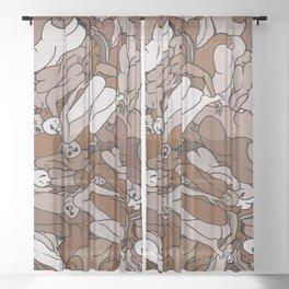 Chocolate Coffee Body Slugs Sheer Curtain