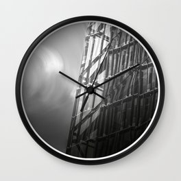 High rise building reflection, black and white fine art photo Wall Clock