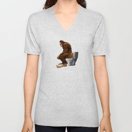 Bigfoot breaks into some Dude's Cabin and Totally takes a fat Dump in his toilet Unisex V-Neck