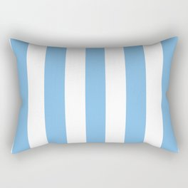 Aero turquoise - solid color - white vertical lines pattern Rectangular Pillow