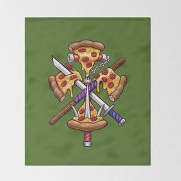 Ninja Pizza Throw Blanket