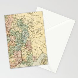Old Map of the East of France Stationery Cards