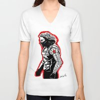 winter soldier V-neck T-shirts featuring Winter Soldier by Lydia Joy Palmer
