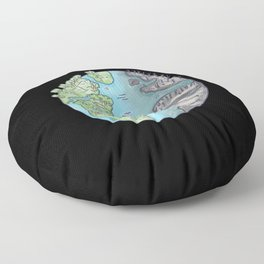 Earth environment  divided healthy half polluted Floor Pillow